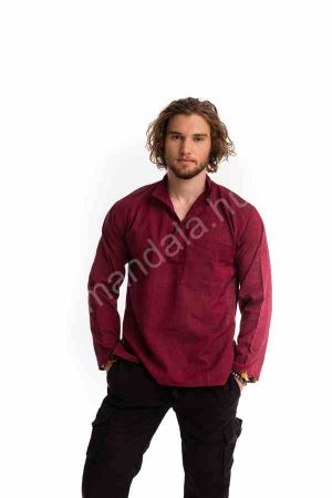 lenvászon-férfi-ing-bordó