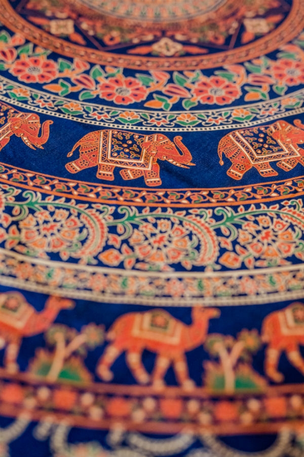 Indiai ágyterítő szimpla mandala kék