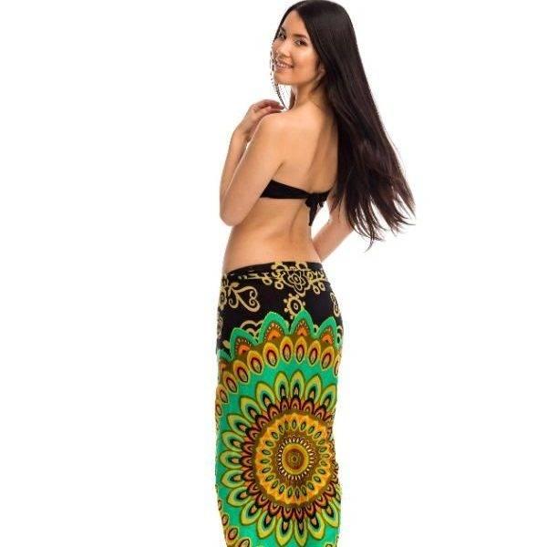 Indonéz szarong strandkendő virág zöld ea0ef8e7b7