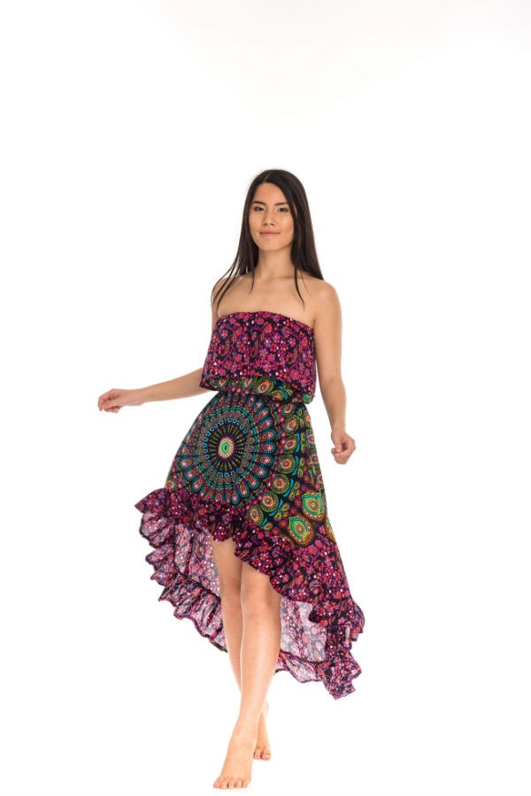 Indonéz mandala ruha mályva