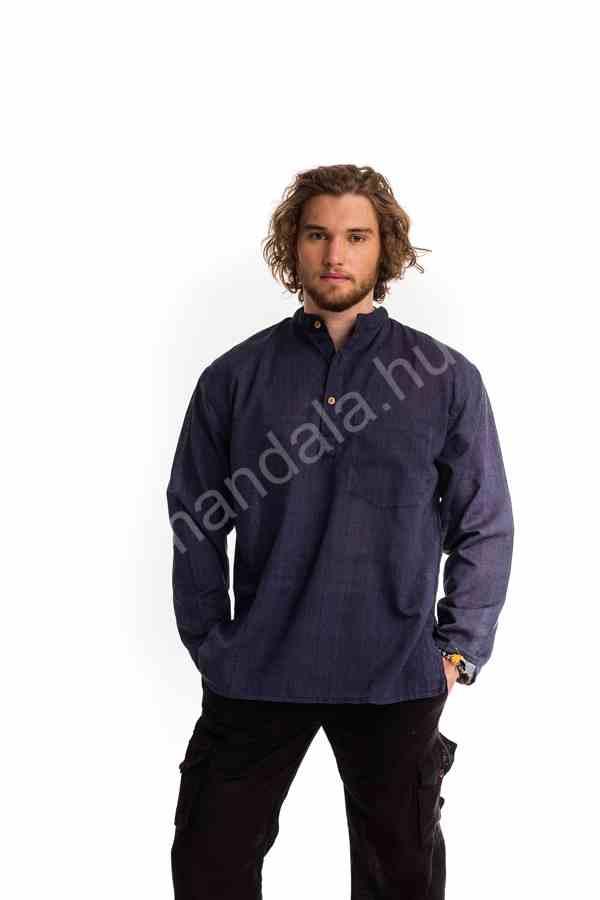 Lenvászon férfi ing kék - Mandala.hu - Nagykereskedelem és webáruház d2031a72e2