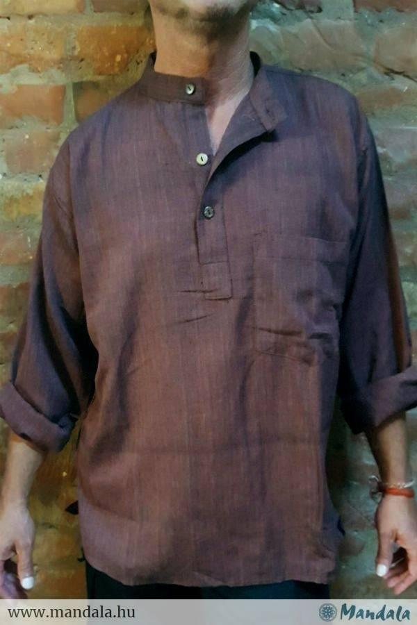 Lenvászon férfi ing barna - Mandala.hu - Nagykereskedelem és webáruház ee69a4a4a5