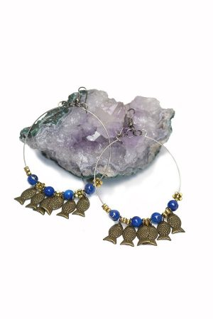 Fülbevaló-hal-kék