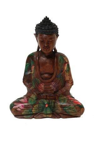 Fa-Buddha-szobor-festett