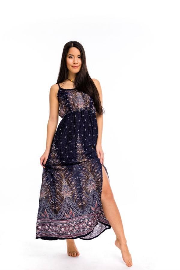 66047f2de5 Nyári hosszú ruha pávatollas kék - Mandala.hu - Nagykereskedelem és ...