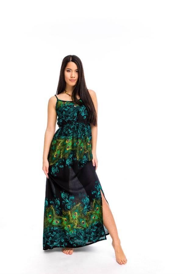 94d0ebb96d Nyári hosszú ruha pávatollas zöld - Mandala.hu - Nagykereskedelem és ...