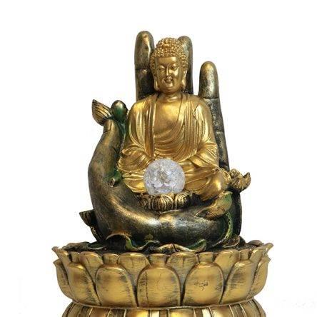 Csobogó Buddha lótuszban 37 cm
